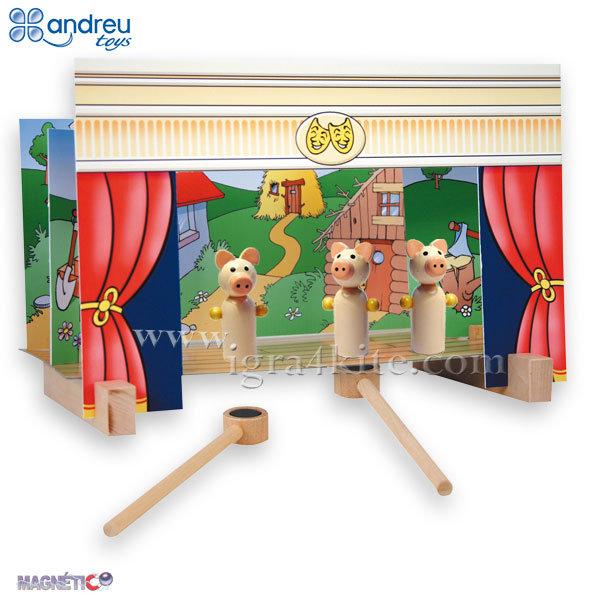 Andreu Toys - Дървен Куклен театър с манити 16005