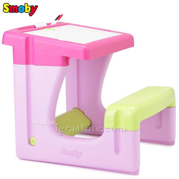 Smoby - Детски чин с пейка розов 28061