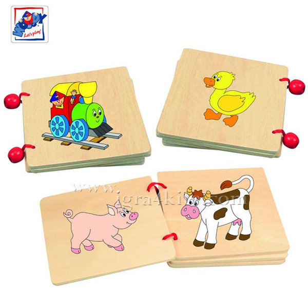 Woody - Дървена бебешка книжка Веселото влакче 93020