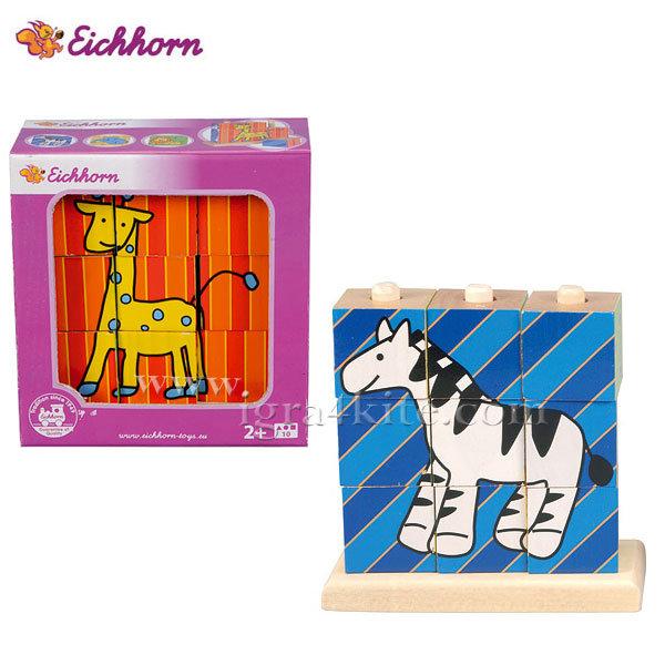 Eichhorn - Дървени кубчета пъзел за нанизване Веселите животни