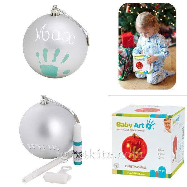 Baby Art - Коледна топка с отпечатък на ръчичка Grey 0036