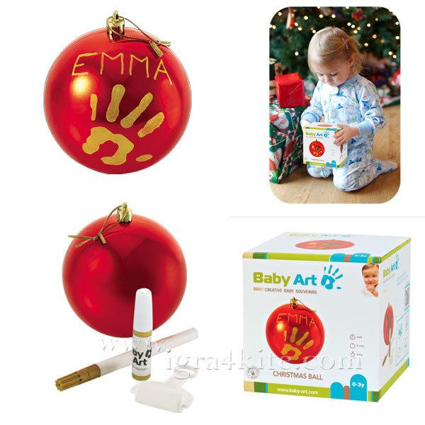 Baby Art - Коледна топка с отпечатък на ръчичка Red 0036