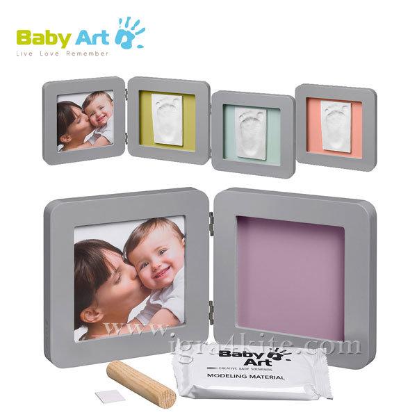 Baby Art - Двойна рамка за снимка и отпечатък сива 0011