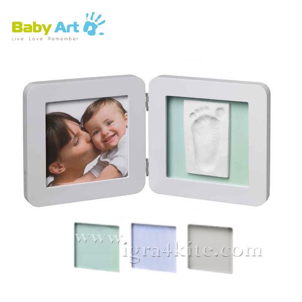 Baby Art - Двойна рамка за снимка и отпечатък бяла 0011