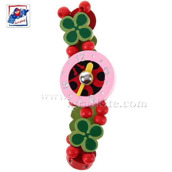 Woody - Детски дървен часовник с мъниста Детелинки 90939