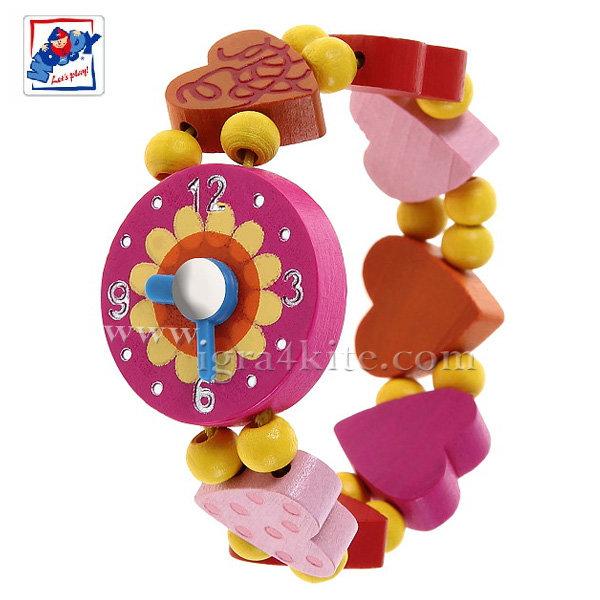 Woody - Детска дървена гривна с декоративен часовник и мъниста Сърца 90939