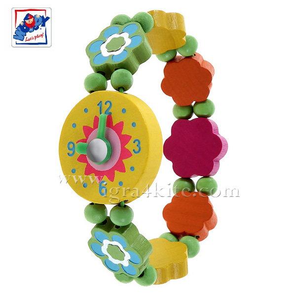Woody - Детски дървен часовник с мъниста Цветя 90939