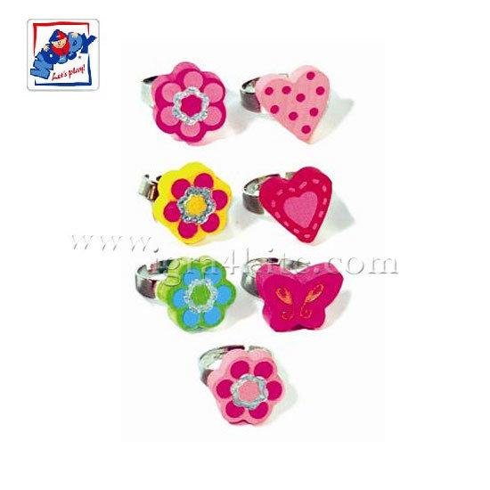 Woody - Детско пръстенче Цветя и сърца 90925