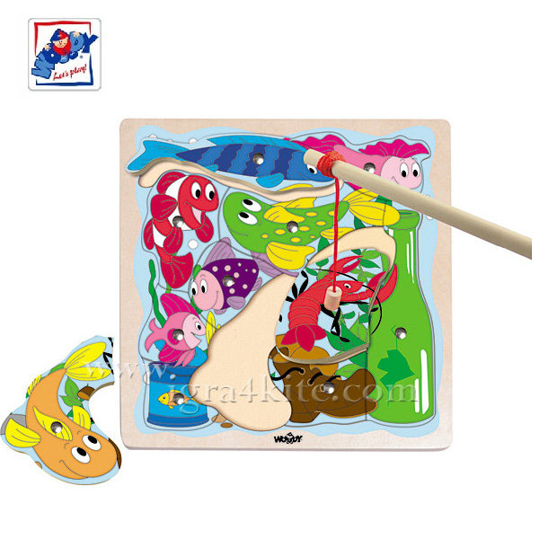 Woody - Магнитен цветен риболов 91143