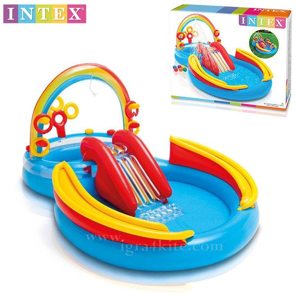 Intex - Кръг с улеи за топки и пързалка + надуваем център дъга 57453
