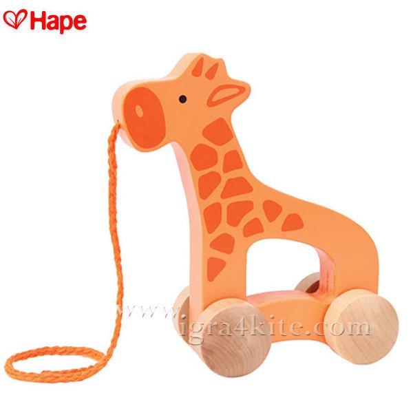 Hape - Дървен жираф за дърпане H0906