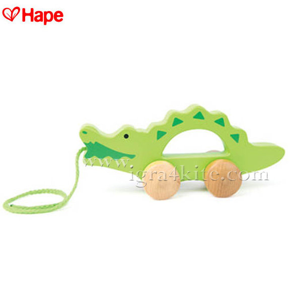 Hape - Детски дървен крокодил за дърпане H0907