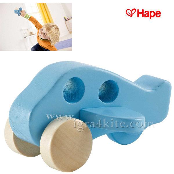 Hape - Детско дървено самолетче в синьо H0050