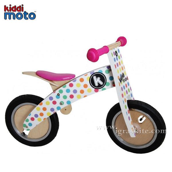 Kiddimoto - Детско дървено колело без педали Kurve Pastel Dotty