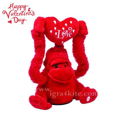 Музикална плюшена маймунка 20см. с надпис Love 23462801