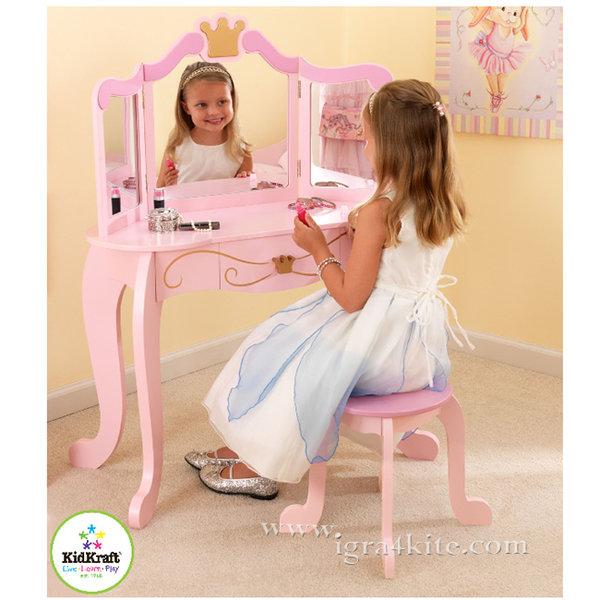 KidKraft - Детска дървена тоалетка със столче Принцеса 76123