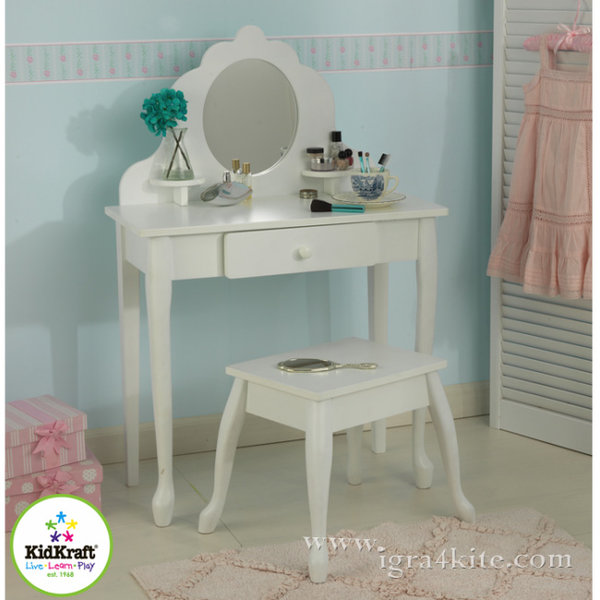 KidKraft - Детска дървена тоалетка със столче 13009