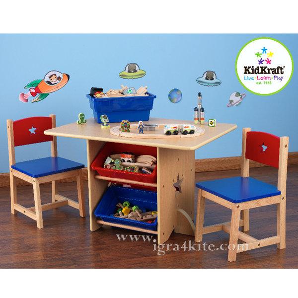 KidKraft - Детска дървена маса с 2 стола и кутии за играчки 26912