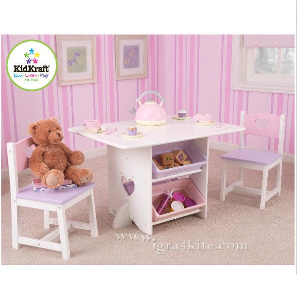 KidKraft - Детска дървена маса с 2 стола и кутии за играчки 26913