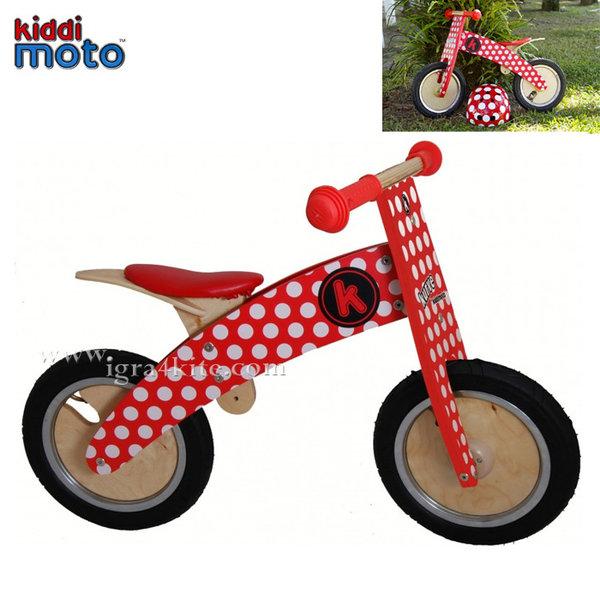 Kiddimoto - Детско колело без педали Kurve Red & White Dotty 606