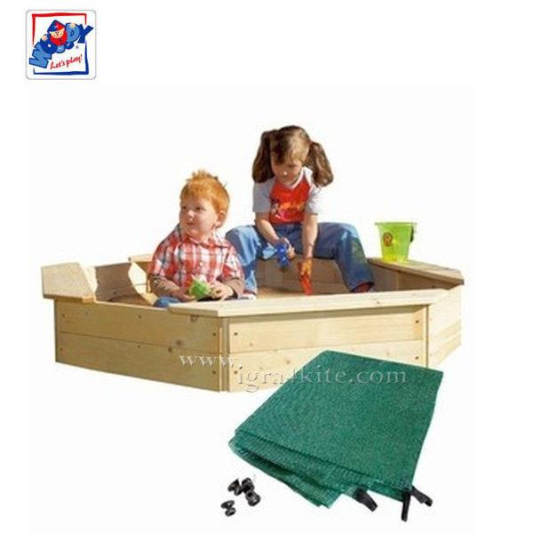 Woody - Детски дървен пясъчник с покривало 10303