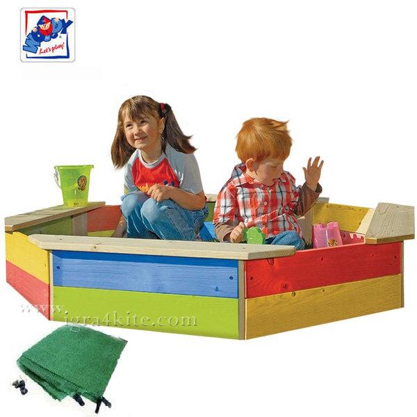 Woody - Детски дървен пясъчник с покривало 10310