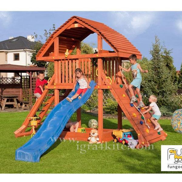 Fungoo - Детска дървена къща с пързалка и пясъчник Giant 00925