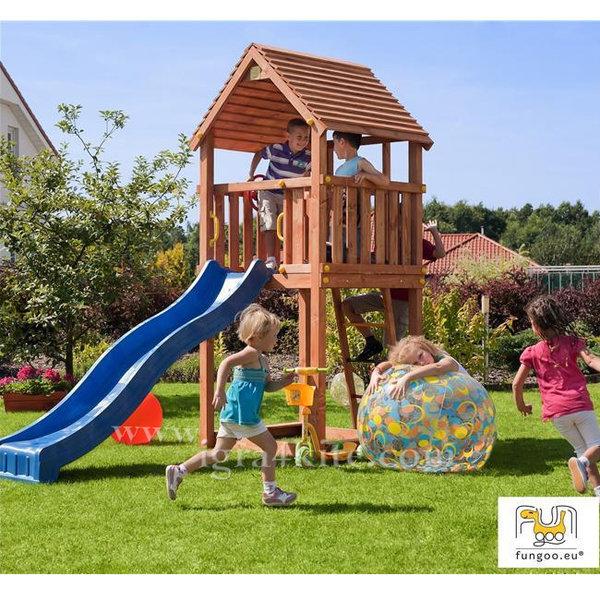 Fungoo - Детска дървена къща с пързалка Junior 00980