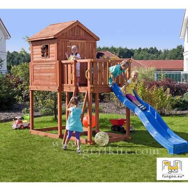 Fungoo - Детска дървена къща с веранда и пързалка My Home 01075