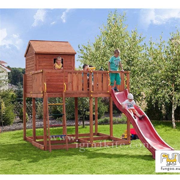 Fungoo - Детска дървена площадка с къща и пързалка My Space 01345