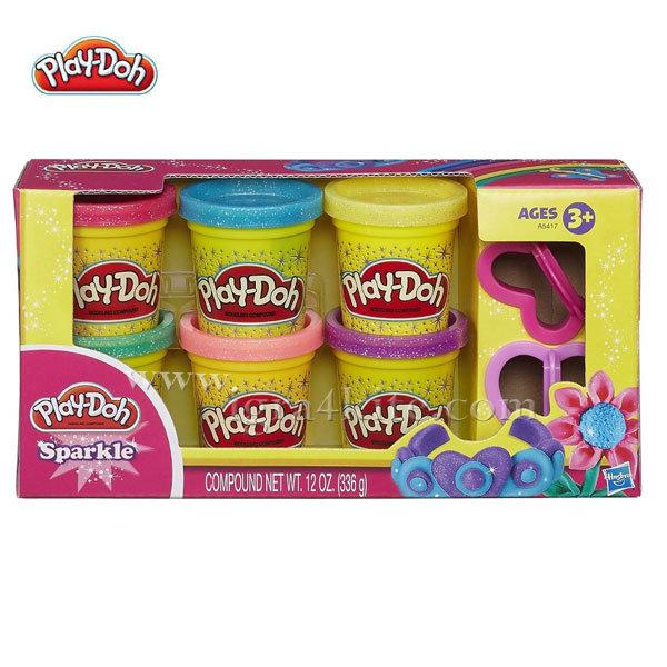 Playdoh - Комплект 6 цвята бляскав пластелин a5417