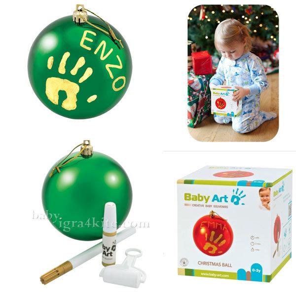 Baby Art - Коледна топка с отпечатък на ръчичка Green 0036