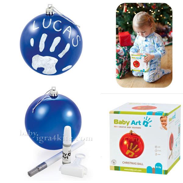 Baby Art - Коледна топка с отпечатък на ръчичка Blue 0036