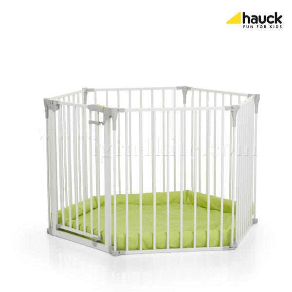 Hauck - Предпазна преграда за врата и кошара 2в1 Hauck Baby Park white/lime 597040