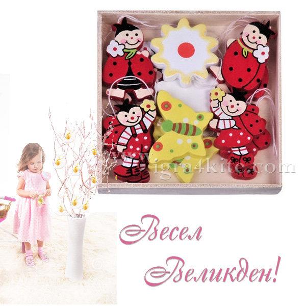 Великденска украса - Великденски дървени фигурки за украса 12бр. 92514