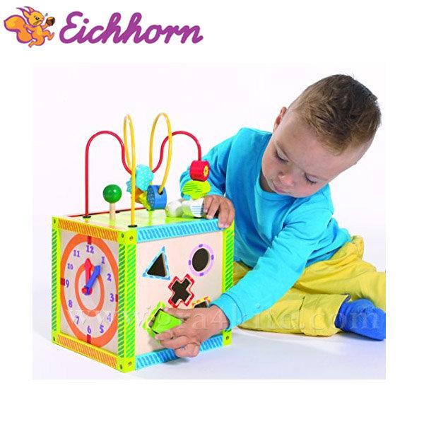 Eichhorn - Дървено занимателно кубче с часовник 02235