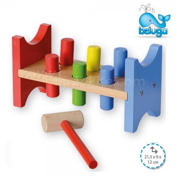 Beluga - Дървена играчка с чукче 50104