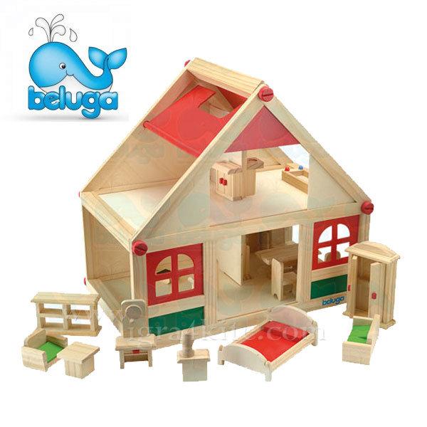 Beluga - Дървена къща за кукли с аксесоари 70131