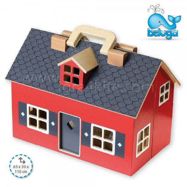 Beluga - Сгъваема дървена къща за кукли с аксесоари 70132