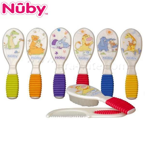 Nuby - Гребен и четка с мека дръжка