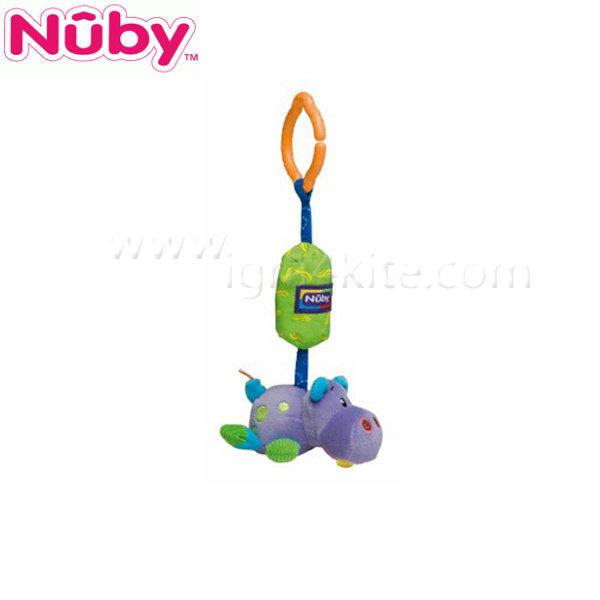 Nuby - Плюшена играчка с дрънкалка за количка - хипопотам
