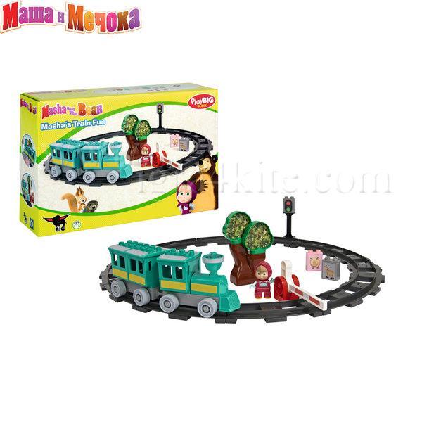 BIG Маша и Мечока - Комплект влак с релси, 32 части 57095