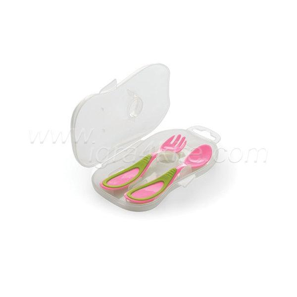Nuvita - Комплект вилица и лъжица в кутийка розови 14072