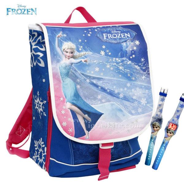 Auguri Preziosi Frozen - Ученическа ергономична раница Замръзналото кралство с подарък часовник 00689