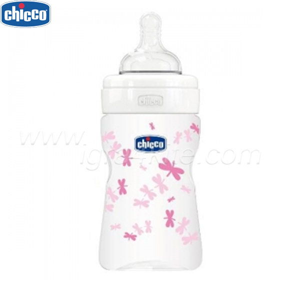 Chicco - Бебешко шише стъкло силикон 150 мл - розово 20711.10