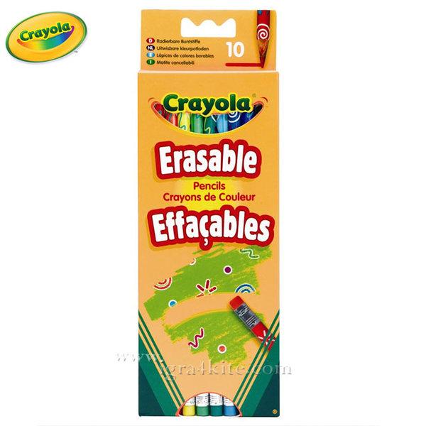 Crayola - Комплект цветни моливи с гимичка 10 броя