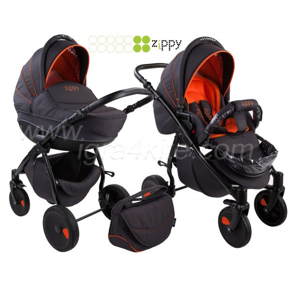 Zippy - Natural бебешка количка 2в1 черно с оранжево