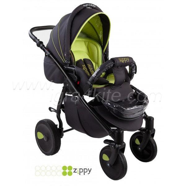 Zippy - Natural бебешка количка 2в1 черно със зелено
