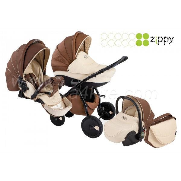 Zippy - Natural бебешка количка 3в1 кафява