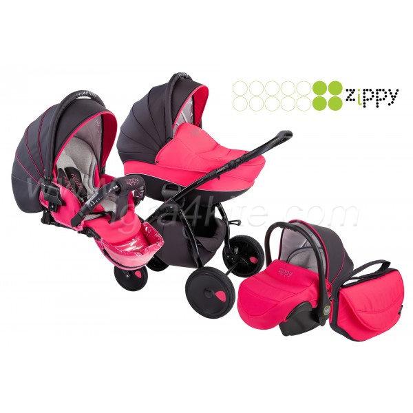 Zippy - Natural бебешка количка 3в1 розова
